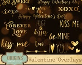 Valentine Gold Overlays, Word art Valentine's Day photography digital clipart, gold leaf foil, photo overlay, digital clip art clipart