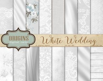 White Wedding digital paper, wedding romantic backgrounds, white wedding bridal patterns, scrapbook paper, invitation paper