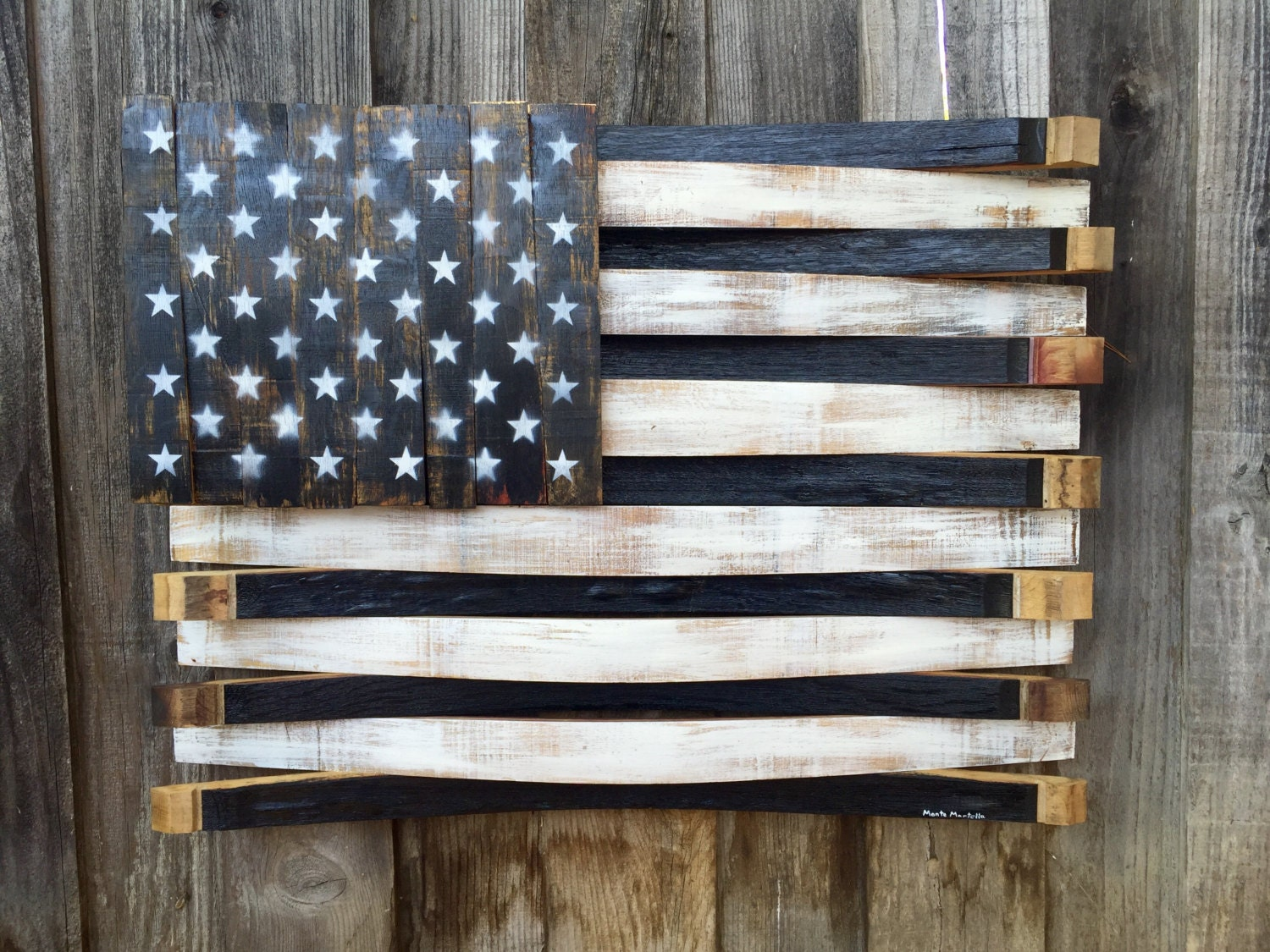 Black and White American Flag Sign -American Flag Sign -Wine Barrel Wood  American Flag - Wood American Flag Etsy