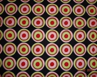"Retro Print Circles Cotton Fabric Remnant - 21"" x 34"""