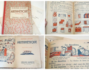 Antique school book arithmetic Mathematics numbers 1936 french vintage counting children's education ephemera scrapbooking illustrations abc