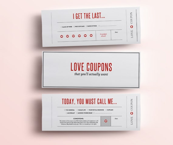 Fun Love Coupon Book   Gift For Her   12 Funny Printable Coupons For  Boyfriend / Girlfriend, Anniversary. DIY Valentines Gift For Him PDF Intended For Fun Voucher Template