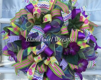Spring Deco Mesh Wreath, Spring Wreath, Easter Wreath, Deco Mesh Spring Wreath, Sping/Easter Deco Mesh Wreath
