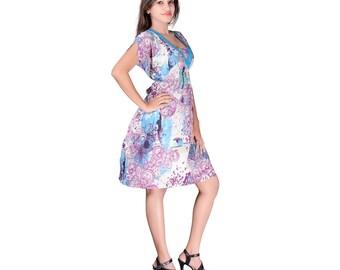 mother daughter matching dress summer dress tshirt dress cotton dress flower dress blue dress