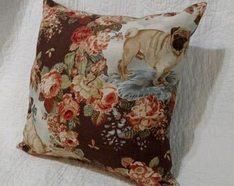 "Pug Pillow Cover - Accent Pillow Cover 20""x20"" - Linen/Cotton - Brown Floral Print"