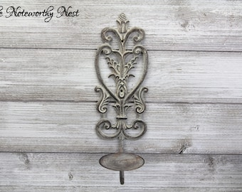 CLEARANCE Beautiful Candle Sconce / Gallery Wall / Farmhouse Decor / Wall Decor / Wall Sconces / Candle Holder / Rustic Decor / Iron Scroll