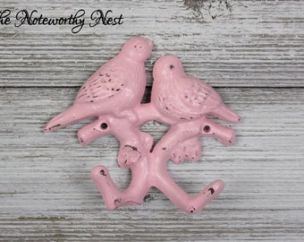 ANY COLOR Bird wall hook / Cast iron wall hook / shabby wall hook / pink bird coat hook / cottage decor birds / nursery decor / pink decor