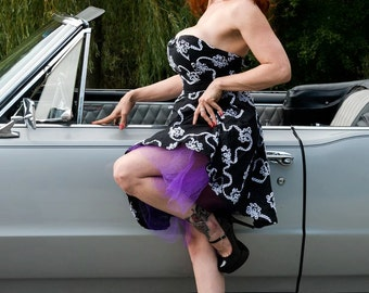 Black White Ribbon Pin-Up Dress Strapless Purple Tulle M
