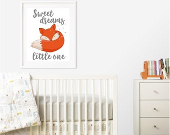 Sweet Dreams Little One - Fox - Nursery Room Decor - Printable - Wall Art - Baby Gift - Typography - Digital Art - Print From Home