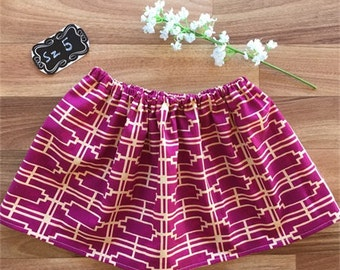 On sale with FREE POST! Twirly skirt | Magenta purple and cream geometric print | Sz 3, 4 or 5 | girls skirt | toddler skirt