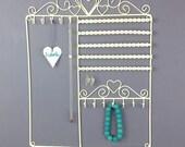 Jewellery Hanger and Organiser for Earrings and Bracelets. Personalised Heart - Necklace Hooks -  Copper or Cream