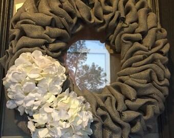 Burlap wreath - Door Wreath - Spring Wreath - Summer Wreath for door - Fall Wreath - Everyday Wreath - Grey Burlap