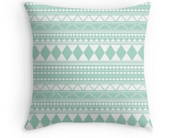 Mint Green Tribal Pillow Cover, Aztec Pillow Cover