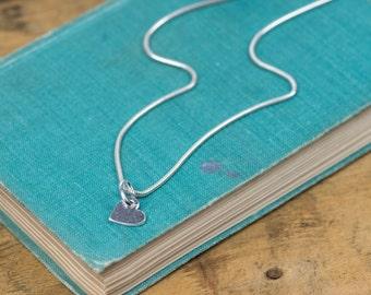 Tiny Silver Heart Pendant - Tiny Silver Heart Necklace - Silver Heart Charm - Heart Charm Necklace - Heart Charm Pendant - Silver Necklace