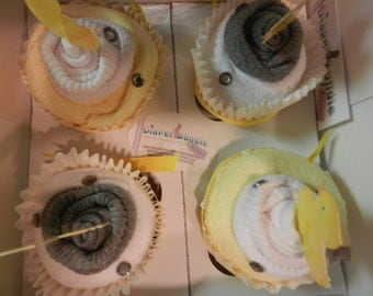Diaper Cupcake Set of 4- Yellow and Gray Duck