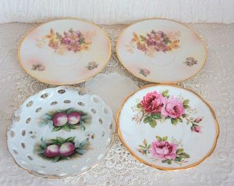 Set of 4 Mismatched  Vintage China Saucers
