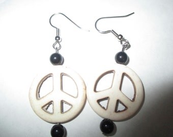 White Howlite Peace Sign