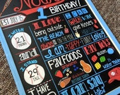Hand Painted First Birthday Chalkboard Sign Personalized 1st hand made sign wood frame