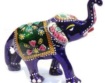1 Piece Beautiful Meenakari Handicrafts White Metal Enamel Blue Color Elephant Statue 3 inches High - Vibrating Color Elephant Statue.
