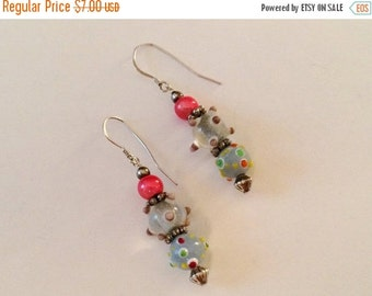50% OFF CLEARANCE Sterling Silver And Glass Bead Earrings
