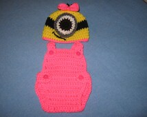Newborn Minion Inspired Girl Hat and Overalls