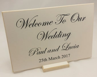 Personalised Welcome To Our Wedding Sign Day Reception