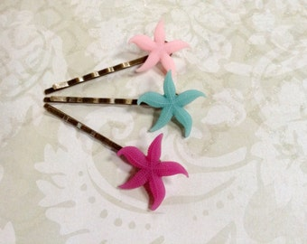 Pastel Blue And Pink Starfish Brass Bobby Pins