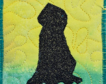 Fiber Art, Wall Hanging, dog Art Quilt, fiber art, Miniature, home decor, abstract art quilt, wall art quilt, contemporary, dog shilouette