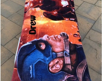 "Oversized Marvel CIVIL WAR Captain America Iron Man Beach Towel - Personalized 30""x60"" Personalized Beach Towel"