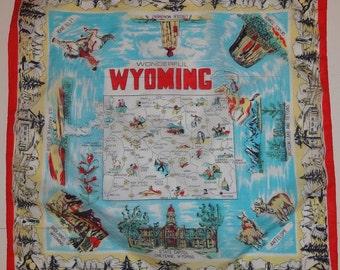 1960s Wyoming Souvenir Scarf
