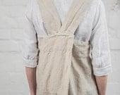 Pinafore / Square cross linen apron /japanese style apron. Washed natural long apron/ no - ties apron.