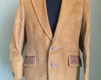 Vintage Cortefiel Corduroy Suit Jacket - Size 42 S - Brown w/ Leather Accents