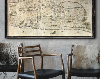 """Map of Holy Land 1662, Biblical map of Israel & Palestine, in 4 sizes up to 72x36"""" (180x90cm) in 1 or 3 parts - Limited Edition of 100"""
