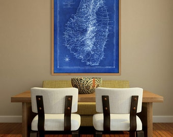 "St Vincent map 1773, Old map of Saint Vincent Island, Caribbean, 4 sizes up to 36x48"" (90x120 cm) also in blue - Limited Edition of 100"