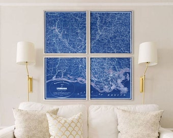 """Map of Louisiana 1864, Old Louisiana map, 4 sizes up to 60x60"""" in 1 or 4 parts - Historical Louisiana state map - Limited Edition of 100"""
