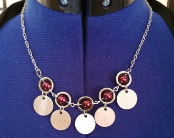 Burgandy Glass Pearl And Coin Disc Necklace.