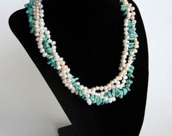 Pearl and turquoise multi-strand necklace