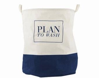 "Cotton Linen Storage Basket, Laundry Basket, ""Plan to Wash"" Basket"