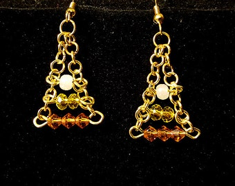Candy Corn Inspired Dangle Earrings