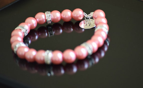 Pink Pearl bracelet with personalized initial ,initial bracelet, flower girl bracelet, wedding bracelet, brimade gift, bridal party jewelry