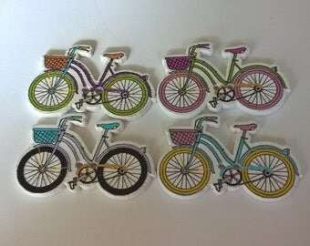 A Pack Of 20 Wooden Ladies Bicycle Shaped Buttons