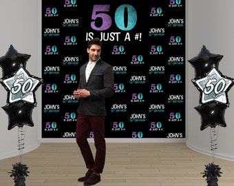50th Birthday Party Personalized Photo Backdrop - Milestone Birthday Photo Backdrop- Photo Booth Backdrop - Step and Repeat Backdrop
