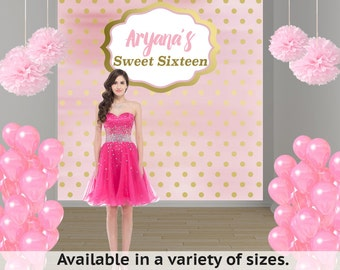 Blush Birthday Party Personalized Photo Backdrop, Sweet Sixteen Birthday Backdrop- First Birthday Photo Booth Backdrop, Custom Backdrop