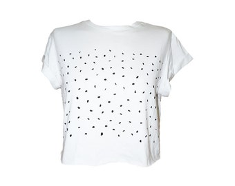White Cropped T-Shirt, Black dots pattern hand painted, Cool shirt, Cool tee, White shirt, Girl T shirt, Teen girls top