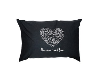Cotton Pillowcases Set of 2 Designer Pillow cases Fun Contemporary Be smart and love Minimal Bedding Design Black Pillowcases for couples