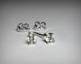 Diamond Earrings, Genuine Diamond Stud Earrings, Solid 14K White Gold, Natural Diamond, Genuine Diamond Earrings, 14K Gold Post Earring Stud