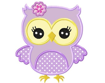 Girly Owl...Applique Machine Embroidery DESIGN NO. 685