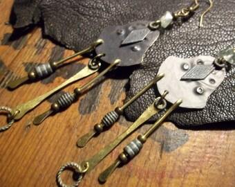 Long Tribal Earring-Earthy Bohemian Earrings-Brass Verdigris Artisan Earrings-Boho Jewelry
