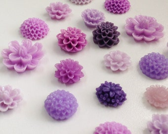 NEW - Resin Flower Cabochon - Lilac Lavender and Purple mixed lot- QTY 10 pieces