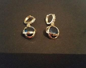 Green Rhinestone Dangle Earrings Costume Jewelry